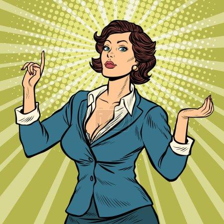Illustration pour Geste de présentation femme d'affaires. Pop art rétro vectoriel illustration vintage kitsch années 50 60 - image libre de droit
