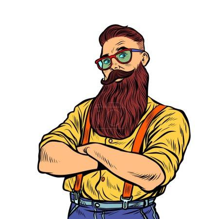 Illustration pour Hipster barbu avec des lunettes isoler sur fond blanc. Pop art rétro vectoriel illustration vintage kitsch années 50 60 - image libre de droit