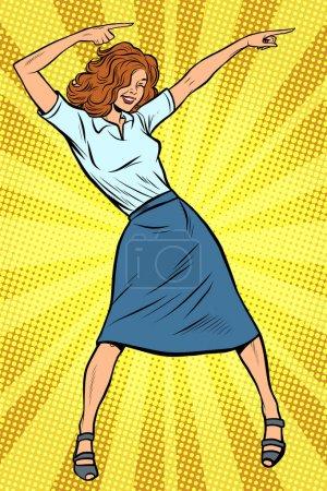 Illustration pour Femme d'affaires dansante. Disco dance club de musique. Pop art rétro vectoriel illustration dessin - image libre de droit