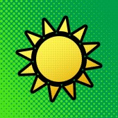 Sun sign illustration Vector Pop art orange to yellow dots-gradient icon with black contour at greenish background