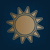 Sun sign illustration Vector Golden icon and border at dark cyan background