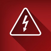 High voltage danger sign Vector White icon with limitless shadow at ruby red background
