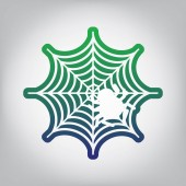 Spider on web illustration Vector Green to blue gradient contour icon at grayish background with light in center
