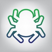 Spider sign illustration Vector Green to blue gradient contour icon at grayish background with light in center