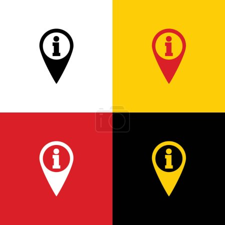 Map pointer with information sign. Vector. Icons of german flag on corresponding colors as background.