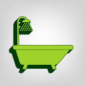 Bathtub sign Vector Yellow green solid icon with dark green external body at light colored background