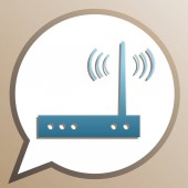 Wifi modem sign Bright cerulean icon in white speech balloon at