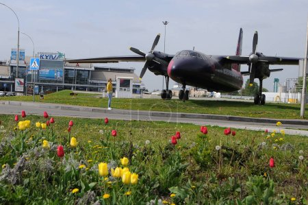 "Photo pour Art plane with the design of ""Eurovision-2017"" at the International Airport ""Kiev"" (Zhuliany), in Kiev, May 2, 2017 - image libre de droit"