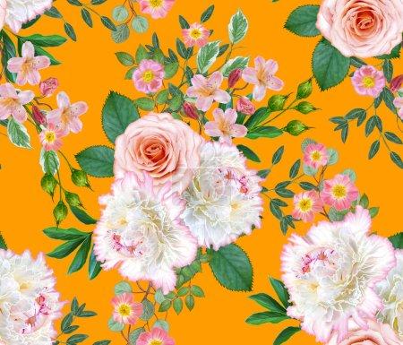 Photo pour Floral pattern sans soudure. Arrangement de la fleur, bouquet de pivoines de délicates roses belle rose, blanc verts feuilles. - image libre de droit