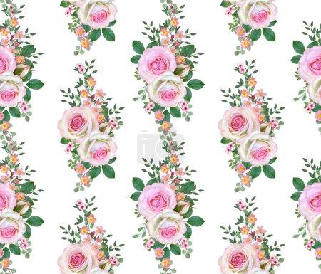 Photo pour Floral pattern sans soudure. Composition de fleurs. bouquet de roses roses délicats, bourgeons, feuilles vertes, branches, petits fruits. - image libre de droit