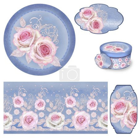 Photo for Set for packaging. Box round. Label. decoupage. Floral background, border. Pattern. Garland flower pink rose. Openwork delicate lace, golden weaving, pearl, paisley element. - Royalty Free Image