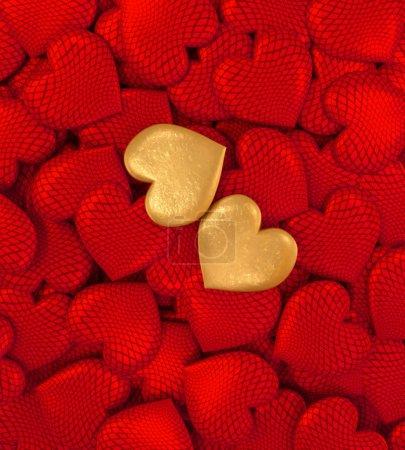 Photo pour Rendu 3D. Composition figure volumétrique coeur brillant, rouge, or, Valentin ou mariage jour thèmes romantiques pour party, événements. - image libre de droit