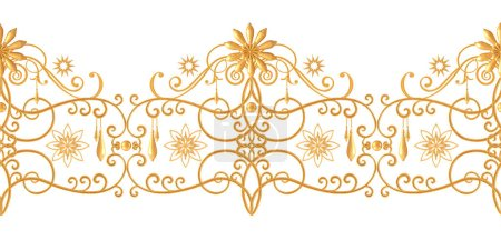 Photo for Seamless pattern. Golden textured curls. Oriental style arabesques. Brilliant lace, stylized flowers. Openwork weaving delicate, golden background. - Royalty Free Image