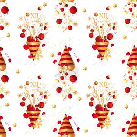 Photo for Christmas shiny bright background, New Year, golden cone, flying confetti, sparkles, tinsel, balls, heart, toys, serpentine, snowflake, 3D rendering, seamless pattern. - Royalty Free Image