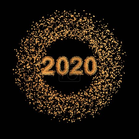Photo for Christmas shining background New Year, 2020, round gold clock, luminous circles, tinsel, confetti, stars. 3d rendering - Royalty Free Image