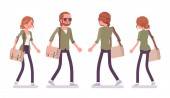 Young red-haired man and woman walking