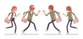 Young red-haired man and woman running