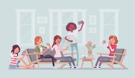 Illustration pour Rassemblement de femmes pour une fête de poule ou de plaisir. Groupe d'amies traîner à la maison, profiter de la musique, boire, socialiser, jolies filles se détendre dans l'amusement, plaisir. Illustration vectorielle de dessin animé de style plat - image libre de droit