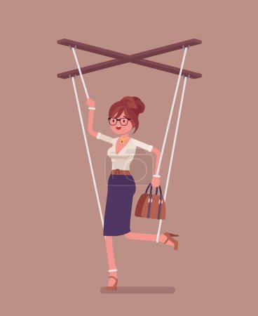 Illustration for Marionette businesswoman, manipulated controlled puppet worked by strings. Unhappy obedient female manager under boss influence, power to perform business orders, make decisions. Vector illustration - Royalty Free Image