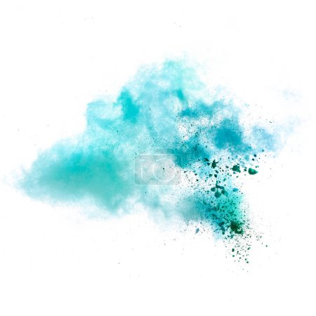 Photo pour Figer le mouvement d'explosion de poussières colorées isolée sur fond blanc - image libre de droit