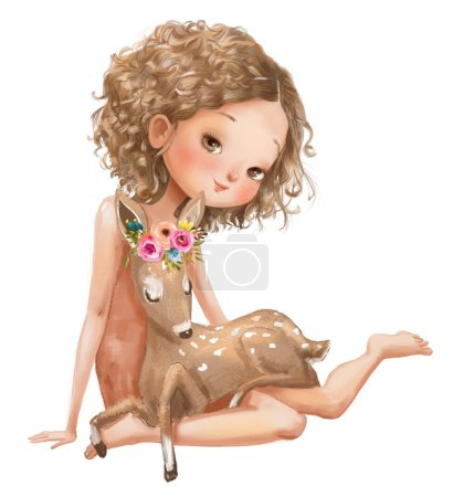 Photo for Cute summer cartoon girl in with deer - Royalty Free Image