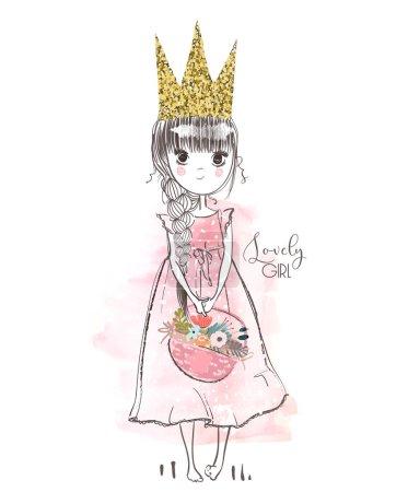 Illustration pour Petite princesse rose avec des fleurs. Illustration vectorielle - image libre de droit
