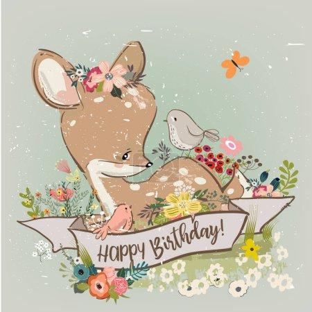 anniversaire petit cerf avec des fleurs