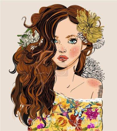 Illustration pour Portrait de jeune belle femme aux fleurs - illustration vectorielle noir et blanc - image libre de droit