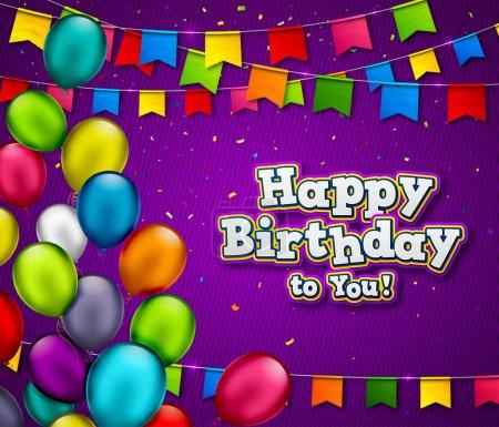 Illustration pour Bannière d'anniversaire vectorielle avec confettis et ballons multicolores. Fond de célébration avec le titre Joyeux Anniversaire. Carte de vœux avec guirlandes colorées de drapeaux, bunting festif et ballons à air . - image libre de droit