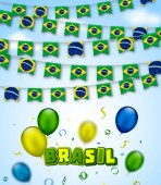 Colorful flags of Brazil with confetti serpentine and colorful balloons Festive garlands of Brazil pennant bunting flags Vector banner for celebration party holiday carnival Independence Day