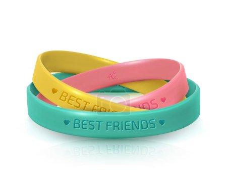Illustration pour Carte de vœux du jour de l'amitié, joyeuse fête de l'amitié. Trois bracelets en caoutchouc pour les meilleurs amis : jaune, rose et turquoise. Bracelet en silicone sur fond blanc. Illustration vectorielle - image libre de droit