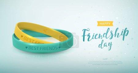 Illustration pour Carte de vœux du jour de l'amitié, joyeuse fête de l'amitié. Deux bracelets en caoutchouc jaune et turquoise pour les meilleurs amis. Bracelet en silicone et inscription de félicitations. Illustration vectorielle - image libre de droit