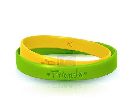 Illustration pour Journée de l'amitié, joyeuse fête de l'amitié. Deux bracelets en caoutchouc pour les meilleurs amis jaune et vert. Bracelet en silicone sur fond blanc. Illustration vectorielle - image libre de droit