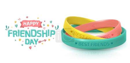 Illustration pour Carte de vœux du jour de l'amitié, joyeuse fête de l'amitié. Trois bracelets en caoutchouc pour les meilleurs amis jaune, rose et turquoise. Bracelet en silicone et inscription de félicitations sur fond blanc - image libre de droit