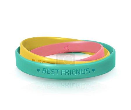 Illustration pour Bracelets en caoutchouc pour meilleurs amis. Carte de vœux du jour de l'amitié, joyeuse fête de l'amitié. Trois bracelets en silicone multicolores sur fond blanc. Illustration vectorielle - image libre de droit