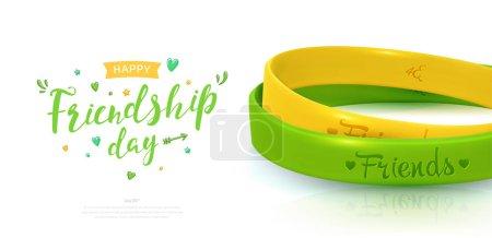 Illustration pour Affiche de la Journée de l'amitié, joyeuse fête de l'amitié. Deux bracelets en caoutchouc pour les meilleurs amis jaune et vert. Bracelet en silicone et inscription de félicitations sur fond blanc. Illustration vectorielle - image libre de droit
