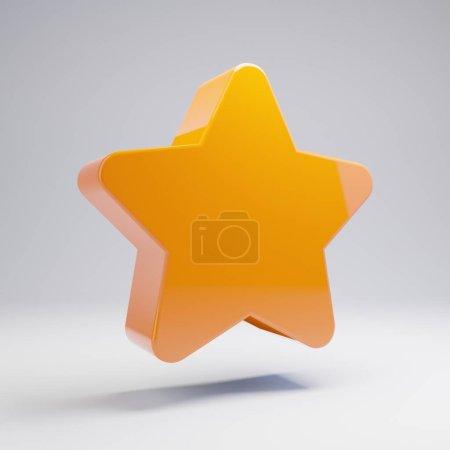 Photo for Volumetric glossy hot orange Star icon isolated on white background. 3D rendered digital symbol. Modern icon for website, internet marketing, presentation, logo design template element. - Royalty Free Image