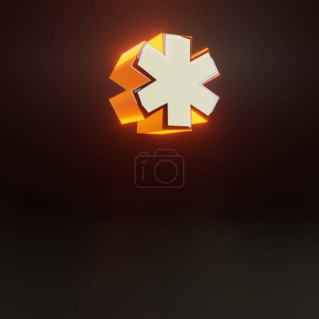 3d asterisk symbol. Glowing glossy metallic font with orange lights isolated on black background.