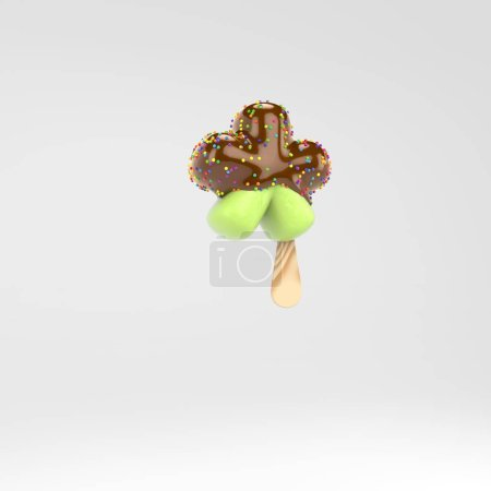 Ice cream asterisk symbol. Pistachio popsicle font with hot chocolate and sprinkles isolated on white background.