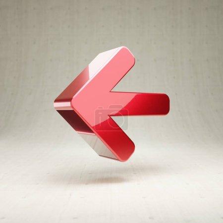 Photo pour Arrow Left icon. Gold glossy Arrow Left symbol isolated on white concrete background. Modern icon for website, social media, presentation, design template element. 3D render. - image libre de droit