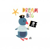 Penguin pirate with lettering card