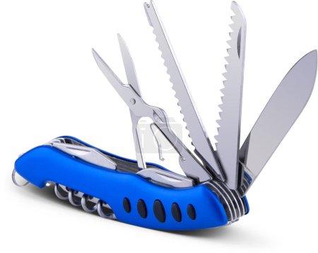 Photo pour Couteau outil multifonction avec poignée bleue. Détourage - image libre de droit