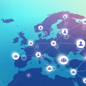 Social media network and marketing concept on World Map background Global business concept and internet technology Analytical networks Vector illustration