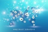 Global network connection Social media network and marketing concept on World Map background Global business and internet technology Analytical networks Vector illustration