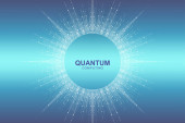 Circular quantum computer technology concept Sphere explosion background Deep learning artificial intelligence Big data algorithms visualization Waves flow Quantum explosion vector illustration