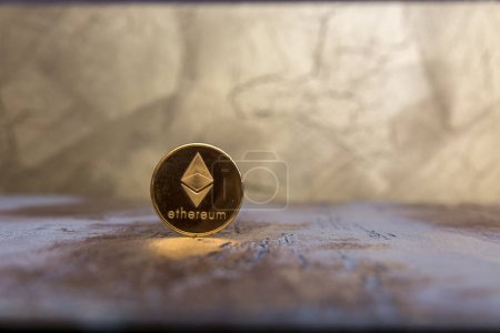 Crypto currency Ethereum on background...
