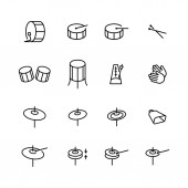 Drums icons set Elements of drum kit or digital machine samples