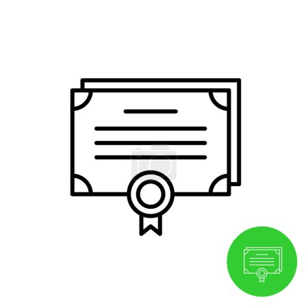 Bonds outline icon. Stock share certificate market symbols. Document sheets with seal. Adjustable stroke width.