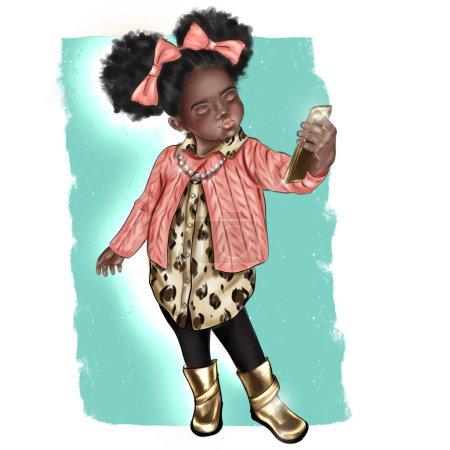 Photo pour Hand Made illustration - peau foncée mignonne petite fille prenant un selfie - image libre de droit