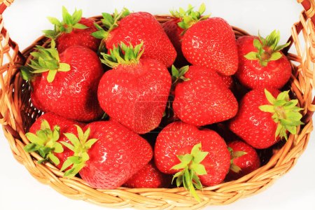 Photo for Isolated strawberries in basket on white background - Royalty Free Image